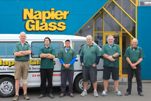Napier Glass Team outside Workshop